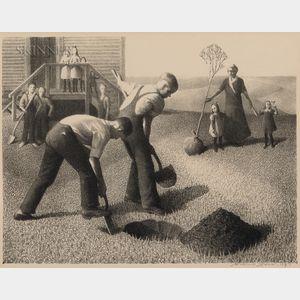 Grant Wood (American, 1891-1942)      Tree-Planting Group