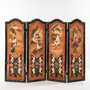 Four-panel Floor Screen with Daoist Paintings