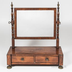 Federal Mahogany and Ebony-inlaid Dressing Mirror
