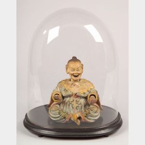 German Polychrome Decorated Bisque Nodding Head Figure