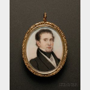 American School, 19th Century       Portrait Miniature of a Young Man