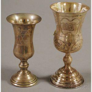 Two Silver Stemmed Kiddush Cups