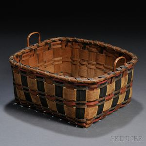 Paint-decorated Woven-splint Basket