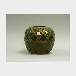 Japanese Wicker-Wrapped Green Glazed Pottery Vase.