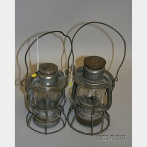 Two Dietz New York Central Tin Railroad Lanterns