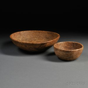Two Round Turned Burl Bowls