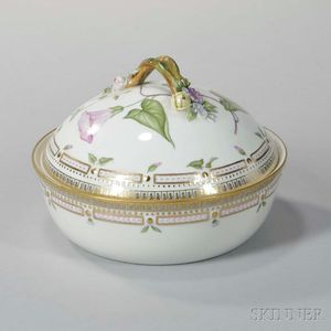"""Four Royal Copenhagen """"Flora Danica"""" Porcelain Round Vegetable Dishes and Covers"""