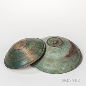 Two Blue-painted Beehive Turned Bowls