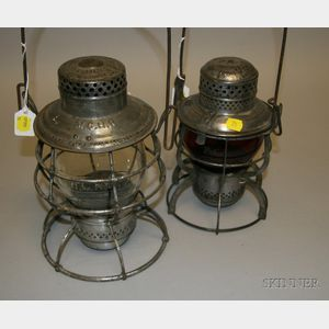 Two Tin Lanterns from Maine and Florida Railroads
