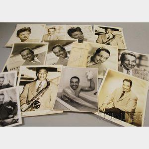 1959 Duke Ellington Signed Hotel Frankfurter Hof Guest Services Receipt and Fourteen Duke Ellington and Orchestra Members Publicity ...