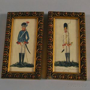 Continental School, 18th Century      Two Portraits of Soldiers.