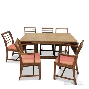 Gilbert Rohde Oak Dining Table and Six Chairs.