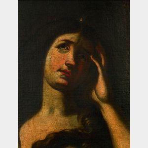 Manner of Massimo Stanzione (Italian, 1585-1656)    Head of a Female Figure