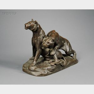 Georges Gardet (French, 1863-1939)      Deux Lionnes