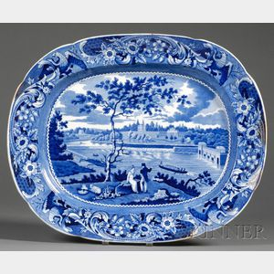 Blue and White Transfer-decorated Staffordshire Pottery Platter