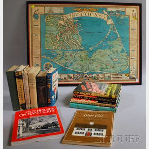 Twelve Books Related to Cape Cod and Nantucket, with a Framed Nantucket Map.