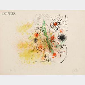 Joan Miró (Spanish, 1893-1983)      Femme et oiseau dans la tormente