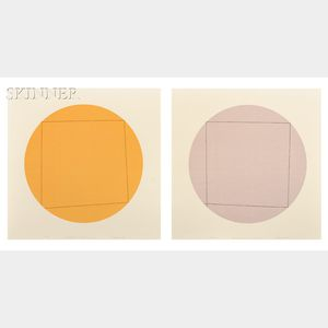 Robert Peter Mangold (American, b. 1937)      Two Images:  Distorted Square within a Circle 1