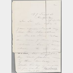 Stowe, Harriet Beecher (1811-1896) Autograph Letter Signed, 12 September 1883.