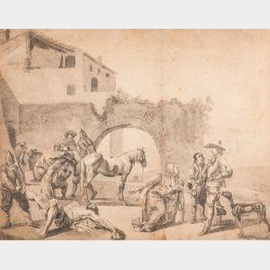 Dutch School, 17th Century      Woman Beseeching an Officer, Gesturing Towards a Fallen Man Dragged Away on His Back