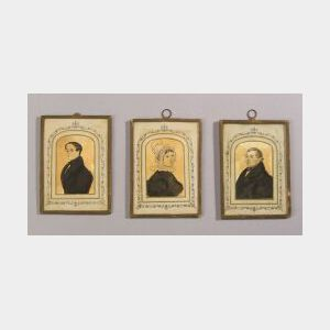 American School, 19th Century  Three Miniature Portraits.