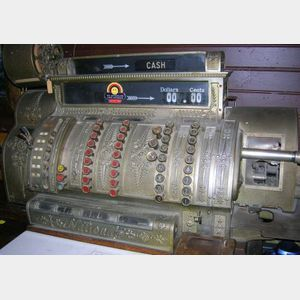 National Cash Register Company Nickel Plated Cast Metal and Oak Cash Register