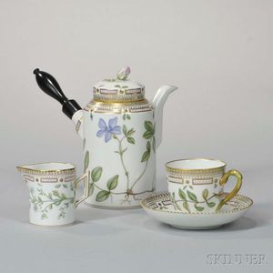 """Royal Copenhagen """"Flora Danica"""" Coffee Service with Ten Cups and Saucers"""