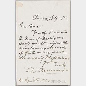 Twain, Mark (1835-1910) Autograph Note Signed, Elmira, New York, [no date].