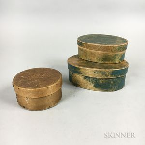Three Small Lapped-seam Bentwood Boxes