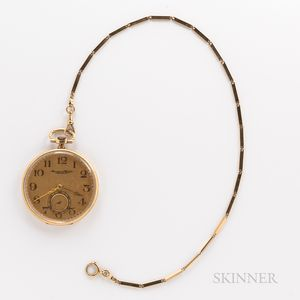International Watch Co. 14kt Gold Open-face Watch and Chain
