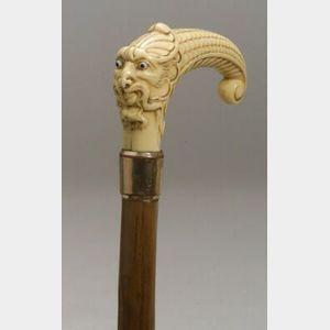 Renaissance Revival Style Faux Ivory Handled Wood Cane.