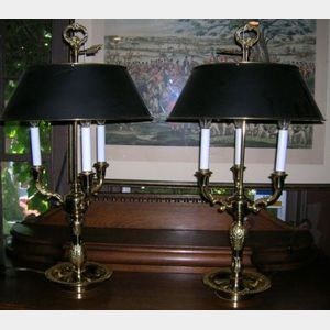 Group of  Neoclassical-style Brass Bouillotte-style Lighting