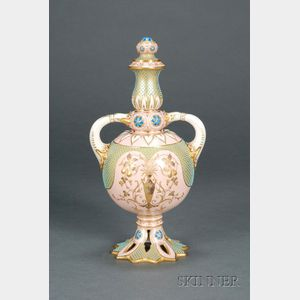 Jeweled Coalport Porcelain Two-handled Vase and Cover