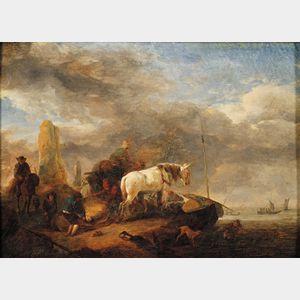 Manner of Jan Wouwerman (Dutch, 1629-1666)      Loading Cargo