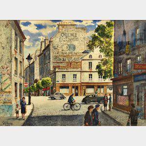 Henry Martin Gasser (American, 1909-1981)      Parisian Street Scene