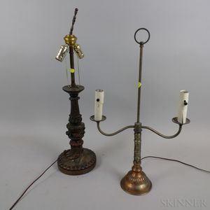Two Base Metal Table Lamps