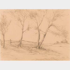 Edward Percy Moran (American, 1862-1935)      Three Trees