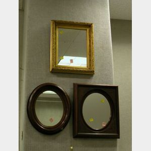 Two Victorian Walnut and a Gilt Gesso Mirror.