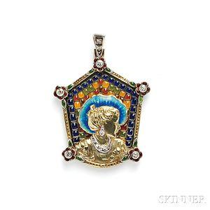 Art Nouveau Plique-a-Jour Enamel and Enamel Pendant