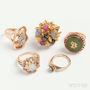 Five 14kt Gold Gem-set Rings