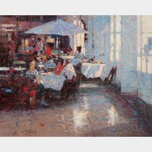 John Terelak (American, b. 1942)      Cafe Scene