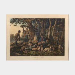 "Nathaniel Currier, publisher (American, 1813-1888)  CAMPING OUT.  ""Some of the Right Sort."""