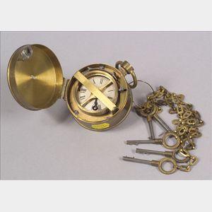 Brass Watchman's Clock