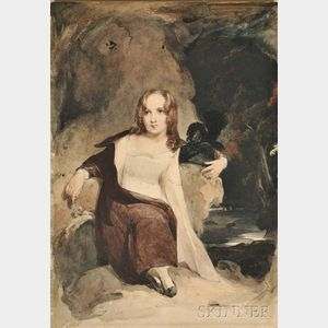 Thomas Sully (American, 1783-1872)      Young Girl Seated in a Rocky Landscape