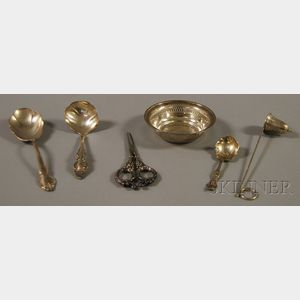 Six Small Sterling Silver and Silver-plated Table and Flatware Items