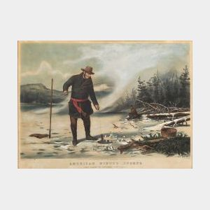 "Nathaniel Currier, publisher  (American 1813-1888)  AMERICAN WINTER SPORTS.  TROUT FISHING ""ON CHATEAUGAY LAKE"""