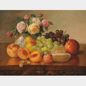 Robert Spear Dunning (American, 1829-1905)      Still Life with Fruit, Roses, and Honeycomb