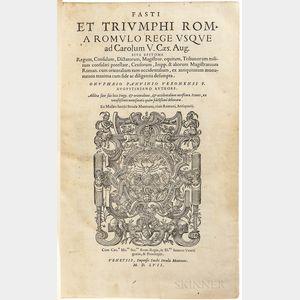 Panvinio, Onofrio (1529-1568) Fasti et Triumphi Roma Romulo Rege usque ad Carolum V. Caes. Aug.
