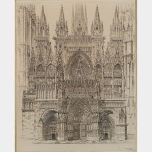 John Taylor Arms (American, 1887-1953)    Lace in Stone, Rouen Cathedral