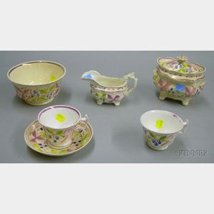 Six Pieces of English Pink Lustre Teaware